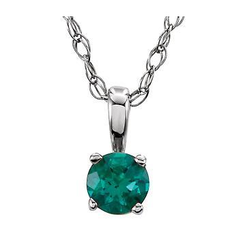 925 sterling sølv simulert emerald 3mm polert ungdom halskjede smykker gaver til kvinner