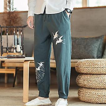 Pantalons style chinois Men's New Lin Broderie Fairy Crane Cotton And Linen