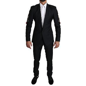 Dolce & Gabbana GOLD Musta 2 kpl FOX kirjailtu puku