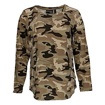Attitudes By Renee Women's Top French Terry Long-Sleeve Camo Brown A366734