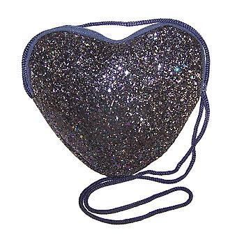 Girls dark blue glitter heart over body bag