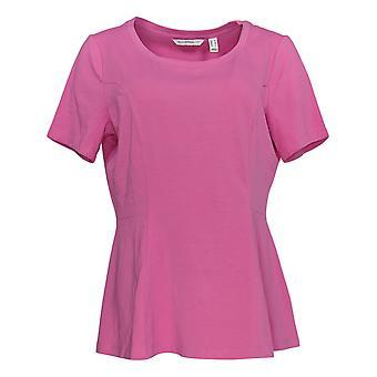 Isaac Mizrahi Live! Women's Top Short-Sleeve Peplum Knit Pink A354253