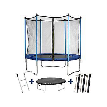 """Trampoline / trampoline """" Happy """" - Ø 3,05 m - met gaas + ladder + afdekking + verankeringsset"""