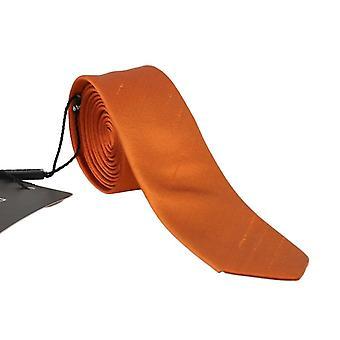Oranžová hedvábná pevná hubená kravata