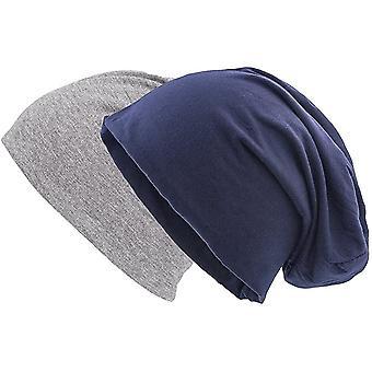 Set van 2 Navy en Grey Jersey Skully Hat
