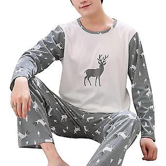 Men's Letter Striped Sleepwear Cartoon Pajama Sets