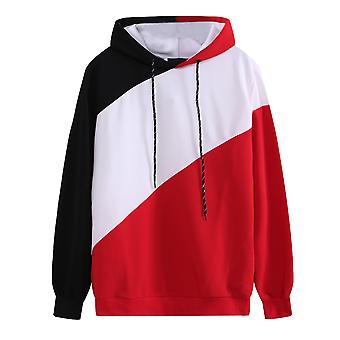 Yunyun Men's Color Block Pullover Casual Hooded Fleece Loose Fit Sweatshirt