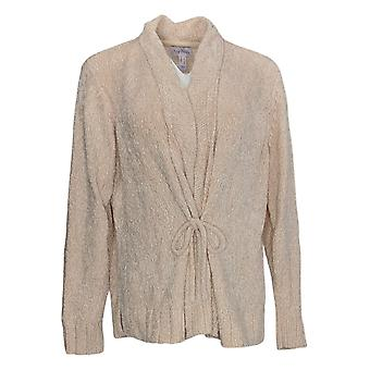 Anybody Women's Sweater Chenille Tie-Front Cardigan Ivory A372139
