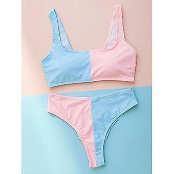 High Waist Bikini Patchwork Swimsuit