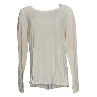 Anybody Women's Top Cozy Knit Long Sleeve Round Neck Swing Ivory A372087