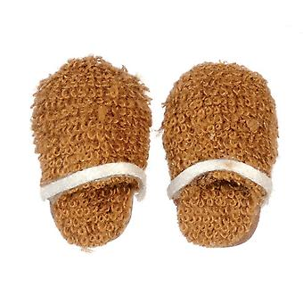 Poppen Huis Mens Brown Slippers Miniatuur Slaapkamer Badkamer Accessoire