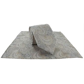 Michelsons av London Elegant Paisley Slips og Pocket Square Sett - Gull/Ecru