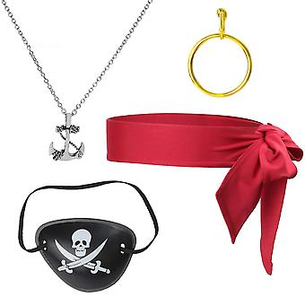 Beelittle 4 sztuk kapitan pirata kostium akcesoria zestaw czerwony krawat na głowę szalik wrap bandana pirate eye p