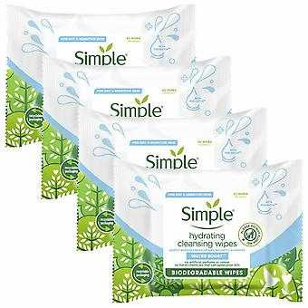 Simple Water Boost Hydrating Cleansing Biodegradable Wipes, 4 Pack of 20 Wipes