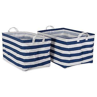 Dii Pe-coated algodón/Poly lavandería Bin Stripe Náutica Azul Rectángulo Surtido Grande (Conjunto de 2)