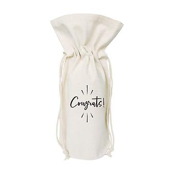Congrats-cotton Canvas Wine Bag