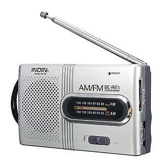 INDIN BC-R21 AM/FM Mini Taşınabilir Teleskopik Anten Radyo Cep Hoparlörü Açık Havada