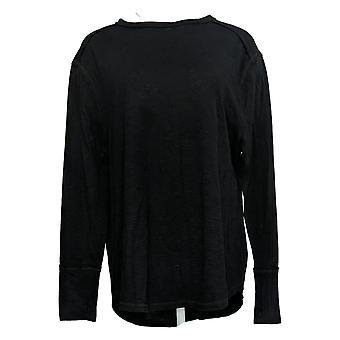 All Worthy Hunter McGrady Women's Top Long Sleeve Relaxed Tee Black A38458