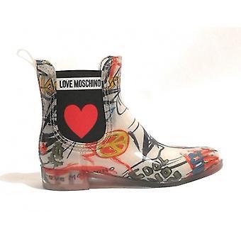 Zapatos Mujer Moschino Lluvia Tobillo Bota Rainboot Pvc Transparente / Graffiti D19mo08