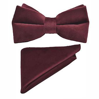 Corbata de terciopelo burdeos & Conjunto cuadrado de bolsillo