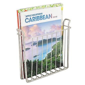 mDesign Metal Wall Mount Magazine, Book Holder, Compact Rack