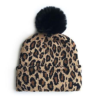 مطابقة ملابس الأسرة ليوبارد القبعات الأم الاطفال الشتاء قبعات التصوير الدافئ