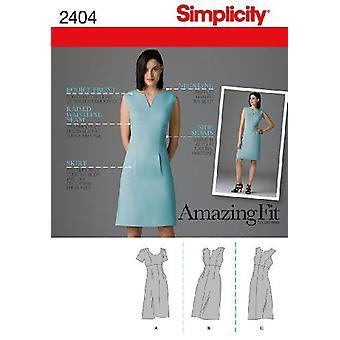 תבניות תפירה פשטות 2404 מתגעגע גודל שמלה 16-18-20-22-24 U5