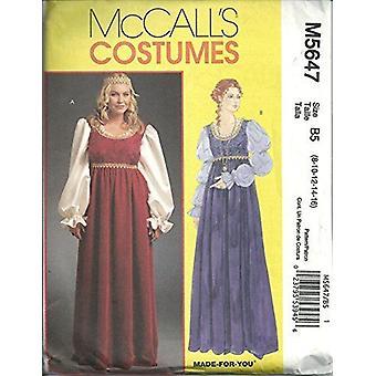 McCalls Schnittmuster 5647 Misses Renaissance Kostüme Größe 8-16 ungeschnitten