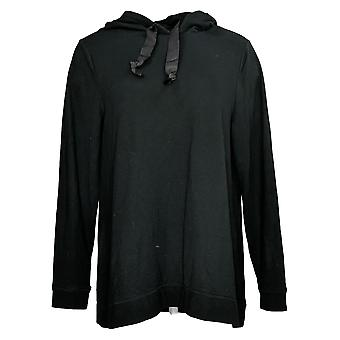 Denim & Co. Felpa con cappuccio donna Active Long Sleeve Pullover Nero A384625