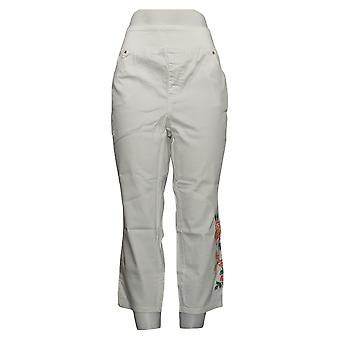 Belle By Kim Gravel Women's Jeans Plus Twill Floral Jegging White A350523