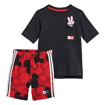 adidas Disney Mickey Mouse Infant Kids T-Shirt & Short Summer Set Black/Red