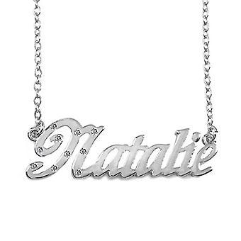 """L Natalie - Valkoinen kullattu kaulakoru 18 kt custom name, säädettävä ketju 16""""- 19"""", Regal Packaging"""