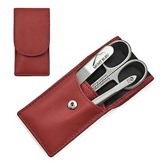 Hans Kniebes' Sonnenschein 3-piece Manicure Set in Nappa Leather Case, Made in Germany - Red