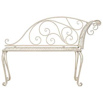 vidaXL jardin chaise longue 128 cm métal antique Blanc