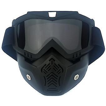 Yksikokoinen musta moottoripyöräkypärä ajolasit lasit irrotettava kasvonaamio x5623