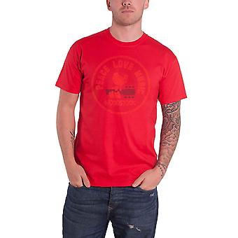 Woodstock T Shirt Peace Love Music Logo Stamp Official Mens Red