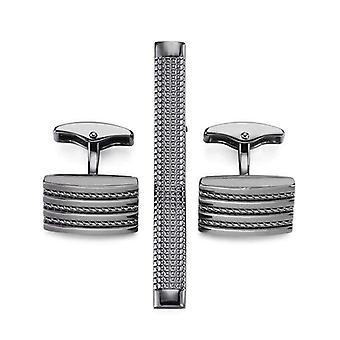 Gun metal grey matching tie pin & cufflink set