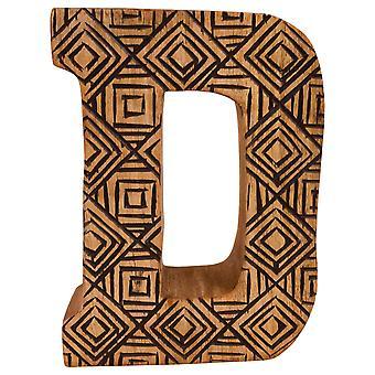 D kirjain Käsin veistetty puinen geometrinen