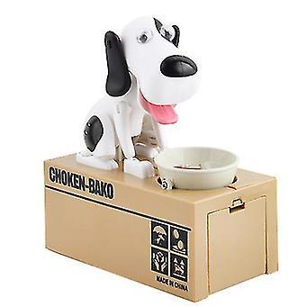 צעצוע לילדים אוכל באופן אוטומטי כסף גור חזירון בנק גונב כסף כלב חזירון בנק (שחור + לבן)