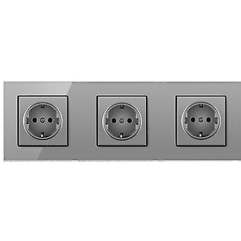 Eu Crystal Glass Panel 3 Gang Without Pin Power Socket 16a