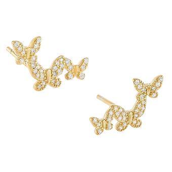 Ear Studs Butterfly S925 Fine Zircon Embedded Earrings For Exhibition