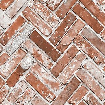 Muriva Herringbone mursten rød tapet 174501