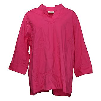 Belle by Kim Gravel Women's Top Woven Cotton Collared Shirt Pink A396218