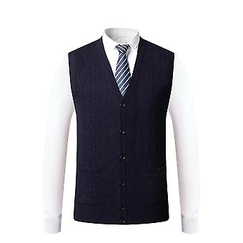 Seeunique Men's Sweater Vest V-neck Sleeveless Cable Knitted Cardigan Vest