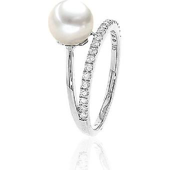 Luna-Pearls Akoya Pearl Ring 7,5-7mm 585/- WG 21 Brill. 0.23 ct. Gr 56 (17.8mm)