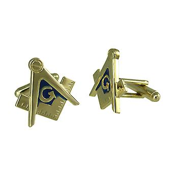 Vergoldete Freimaurer Kompass & quadratische Manschettenknöpfe Mason