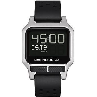 Nixon A1320-130 Heat Lcd Digital Silver Stainless Steel & Black Rubber Watch