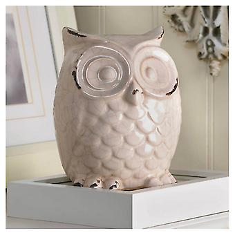 Accent Plus Crackle-Finish Ceramic Owl, Pack of 1