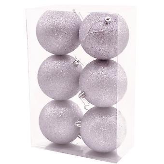 6 Store 10cm Lilla Glitter Shatterproof Bauble Juledekorasjoner