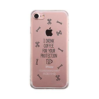 Coffee For Your Protection Transparent Cover Cute Clear Phonecase